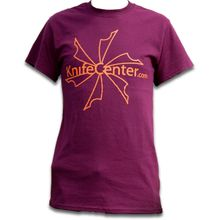 KnifeCenter.com Gildan Medium 100% Cotton T-shirt Maroon w/ Front Logo