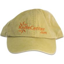KnifeCenter.com Cotton Cap/Hat by Adams Headwear, Chamois with Orange Logo