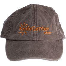 KnifeCenter.com Cotton Cap/Hat by Adams Headwear, Espresso with Orange Logo