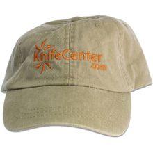 KnifeCenter.com Cotton Cap/Hat by Adams Headwear, Khaki Green with Orange Logo