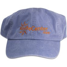 KnifeCenter.com Cotton Cap/Hat by Adams Headwear, Periwinkle with Orange Logo