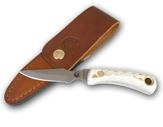 Knives of Alaska Cub Bear Caping Knife Fixed 3.375 inch D2 Bead Blast Blade, Stag Handles, Brown Leather Sheath