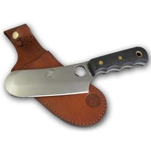 Knives of Alaska Brown Bear Skinner Cleaver Fixed 5.875 inch D2 Bead Blast Blade, Black Santoprene SureGrip Handles, Brown Leather Sheath