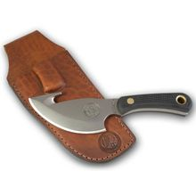 Knives of Alaska Light Hunter Skinner Cleaver Fixed 4 inch D2 Bead Blast Blade with Gut Hook, Black Santoprene SureGrip Handles, Brown Leather Sheath