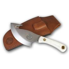 Knives of Alaska Light Hunter Skinner Cleaver Fixed 4 inch D2 Bead Blast Blade with Gut Hook, Stag Handles, Brown Leather Sheath