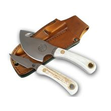 Knives of Alaska Light Hunter/Cub Bear Combo Set, Stag Handles, Brown Leather Sheath