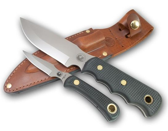 Knives of Alaska Bush Camp/Cub Bear Combo Set, Black Santoprene SureGrip Handles, Brown Leather Sheath