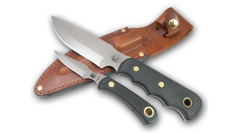 Knives of Alaska Bush Camp/Cub Bear Combo Set, Black Santoprene SureGrip Handles, Brown Leather Sheath