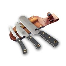 Knives of Alaska Professional Hunter's Triple Knife Combo Set, Black Santoprene SureGrip Handles, Brown Leather Sheath