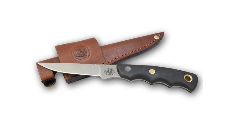 Knives of Alaska Jaeger Boning Knife Fixed 3.5 inch D2 Bead Blast Blade, Black Santoprene SureGrip Handles, Brown Leather Sheath