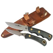 Knives of Alaska Alpha Wolf/Cub Bear Combo Set, Black Santoprene SureGrip Handles, Brown Leather Sheath