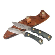Knives of Alaska Alpha Wolf/Muskrat Combo Set, Black Santoprene SureGrip Handles, Brown Leather Sheath