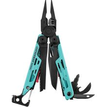 Leatherman Signal Full-Size Multi-Tool, Aqua, Nylon Sheath, Safety Whistle, Ferrocerium Rod and Diamond Sharpener
