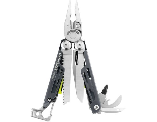 Leatherman Signal Full-Size Multi-Tool, Granite Gray, Nylon Sheath, Safety Whistle, Ferrocerium Rod and Diamond Sharpener