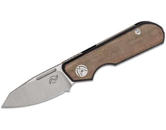 Liong Mah Designs Traveler Detent Lock Folding Knife 2.7 inch M390 Sheepsfoot Blade, Black G10 Handles with Green Canvas Micarta Inlays