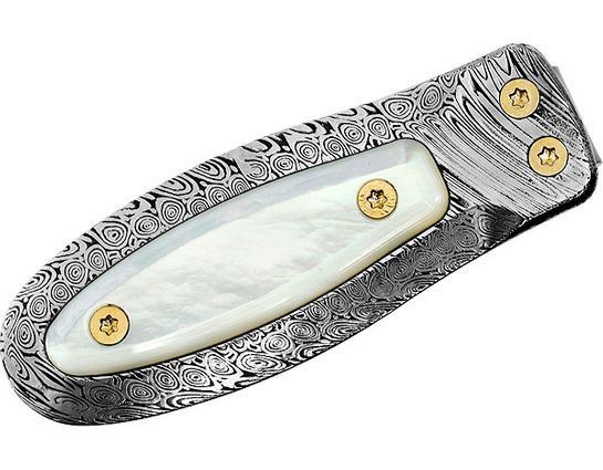 LionSteel PB-D MOP Damascus Money Clip with Mother of Pearl Insert