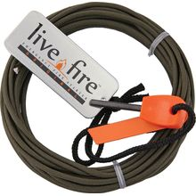 Live Fire Gear Ring O Fire, Live Fire Emergency Fire Starter, Olive Drab 550 FireCord Paracord, 25 Feet