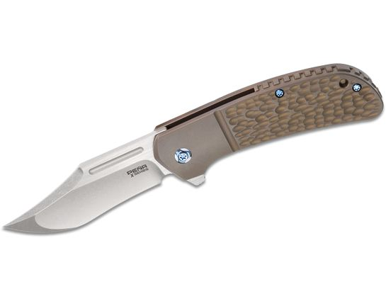 Enrique Pena X Series Lanny's Clip Flipper Knife 3.25 inch S35VN Two-Tone Clip Point Blade, Bronze Jigged Titanium Handles with Faux Bolsters
