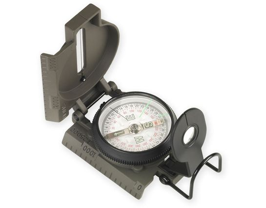 NDūR Lensatic Compass with Metal Case, Olive Drab