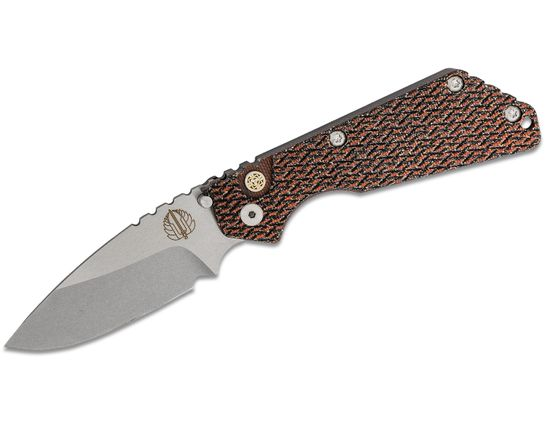 Pro-Tech Strider SnG AUTO Folding Knife 3.5 inch 154CM Stonewashed Plain Blade, Orange/Black Micarta and Aluminum Handles - KnifeCenter Exclusive