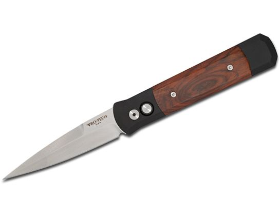 Pro-Tech 906-C Godfather AUTO Folding Knife 4 inch 154CM Satin Plain Blade, Black Aluminum Handles with Cocobolo Inlays