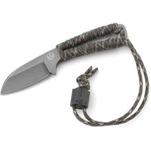 Ruger Cordite Compact Fixed Neck Knife 2.5 inch Black Stonewashed Blade, Camo Paracord Wrapped Handle