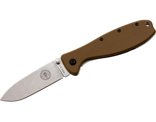 Zancudo Folding Knife 3 inch Stonewashed Blade, Coyote FRN and Stainless Steel Handles, Designed by ESEE