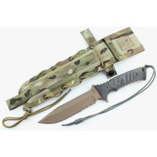 Chris Reeve Pacific Combat Knife Fixed 6 inch S35VN Flat Dark Earth Combo Blade, Micarta Handles, Camo Nylon Sheath