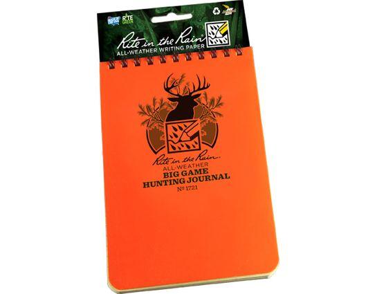 Rite in the Rain Polydura Big Game Hunting Journal, 4 inch x 6 inch, Orange