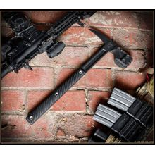 RMJ Tactical Snuggles Blackout Edition Warhammer with Spike 18 inch Overall, Black G10 Handles, No Sheath