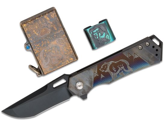 Steel Flame 2019 California Custom Show Set with Hagakure Flipper Knife, Lighter and MOLLE Clip