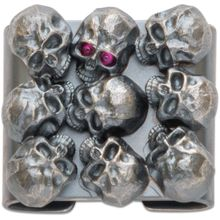 Steel Flame Sterling Silver Hardness Skulls with Red Eye MOLLE Clip