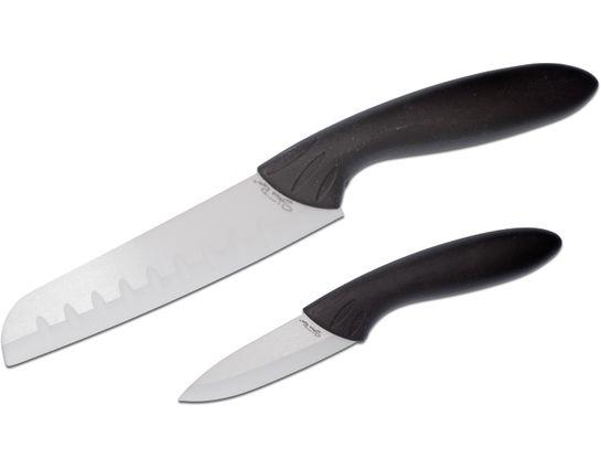 Stone River Gear Two Piece White Ceramic Santoku/Paring Knife Set, Black Handles