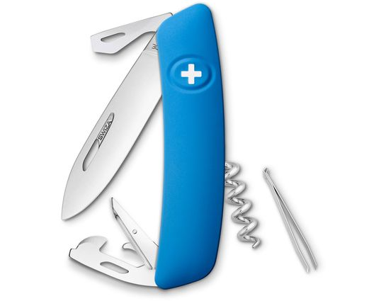 SWIZA D03 Swiss Pocket Knife Multi-Tool, Blue, 2.95 inch Plain Blade