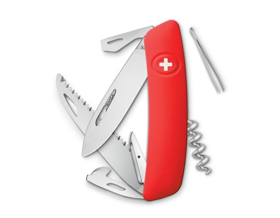 SWIZA D05 Swiss Pocket Knife Multi-Tool, Red, 2.75 inch Plain Blade