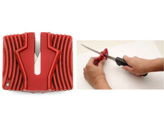 Grooved Ceramic Knife Sharpener, Red