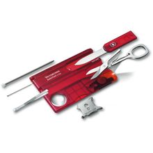 Victorinox Swiss Army SwissCard Lite Multi-Tool with White LED Light, Translucent Ruby