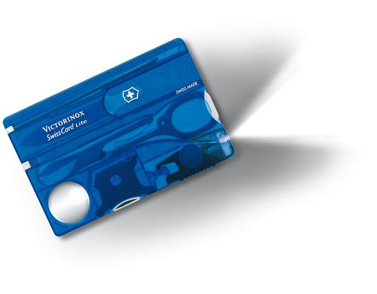 Victorinox Swiss Army SwissCard Lite Multi-Tool with White LED Light, Translucent Sapphire
