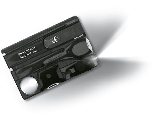 Victorinox Swiss Army SwissCard Lite Multi-Tool with White LED Light, Translucent Onyx (Old Sku 53333)