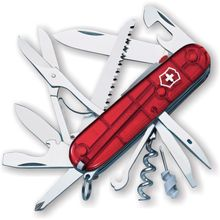 Victorinox Swiss Army Huntsman Lite Multi-Tool, Transparent Red, 3.58 inch Closed