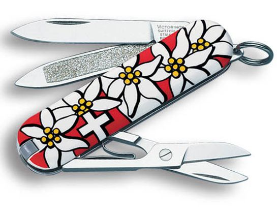 Victorinox Swiss Army Classic SD Multi-Tool, Red Edelweiss, 2-1/4 inch Closed (Old Sku 54719)