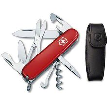 Victorinox Swiss Army Climber Multi-Tool, 3-1/2 inch Red Handles, Black Pouch