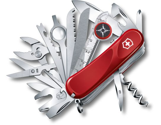 Victorinox Swiss Army Evolution S54 ToolChest Plus Multi-Tool 3-1/4 inch Red Handles (2.5393.SEUS2)