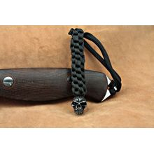 Schmuckatelli Black Oxidized Pewter Emerson Skull Lanyard, Black