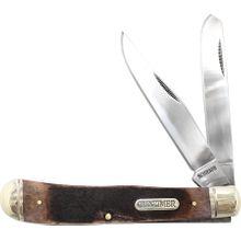 Schrade 95OTB Old Timer Large Gunstock Trapper 4.18 inch Closed, Genuine Bone Handles
