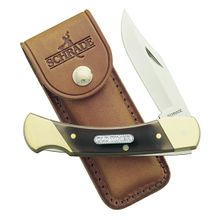 Schrade 7OT Old Timer Cave Bear Brown Sawcut Delrin Lockback Folder 5 inch Closed, Leather Sheath