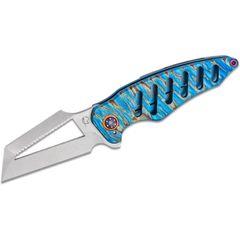 Scorpion 6 Knives Custom Mektig Flipper Knife 3.375 inch Nitro-V Tumbled Blade, Milled Blue Flamed Titanium Handles, Copper Collars