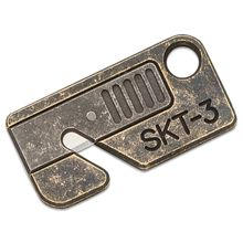 Serge Panchenko Custom SKT-3 Keychain Rope Cutter, Antiqued Brass and Aluminum, Mini-Utility Blade