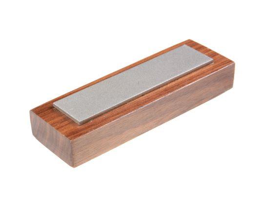 EZE-LAP Coarse Stone on a Walnut Pedestal. No Groove - 1 inch x 4 inch Diamond Stone