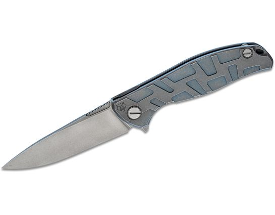 Shirogorov Model F95T Flipper Knife 3.875 inch M390 Drop Point Blade, Blue Milled T-Pattern Titanium Handles